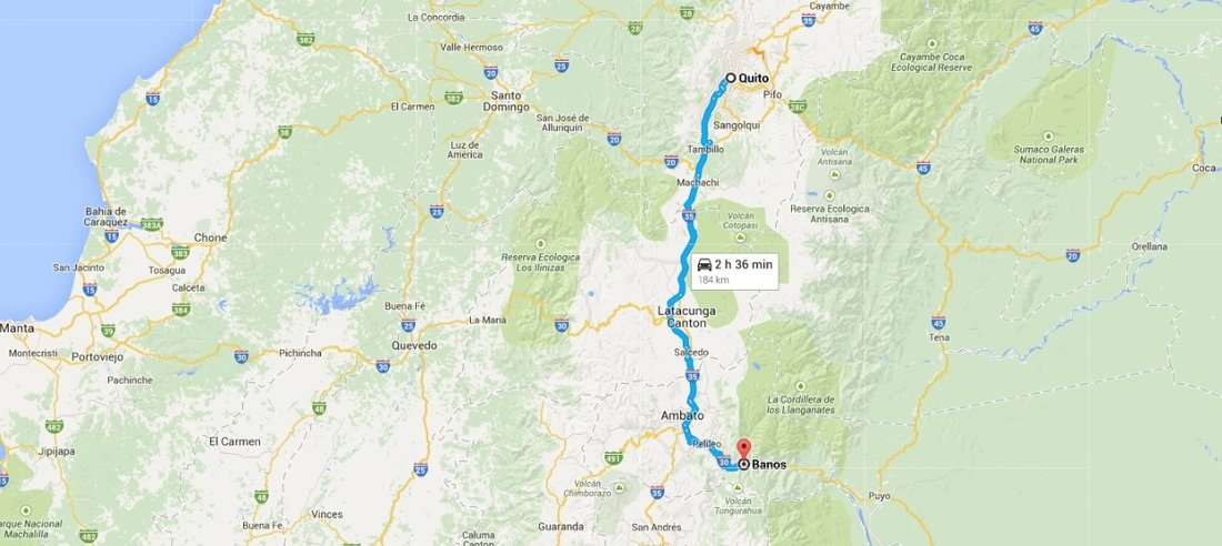 The route from Quito to Casa Del Arbol