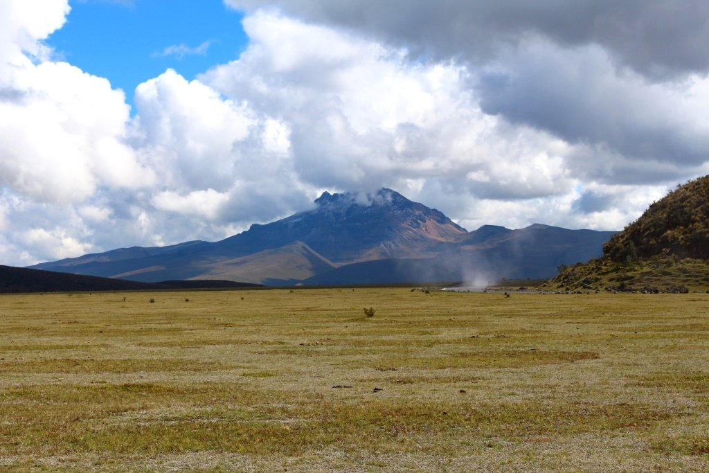 Cotopaxi volcano looms in the background