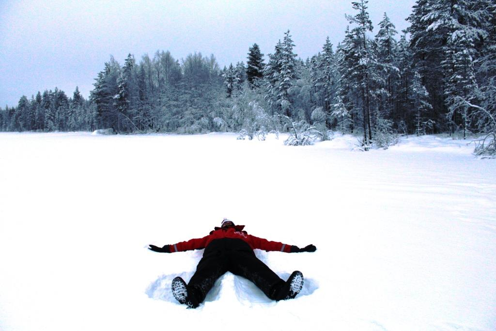 Snow angels on a frozen lake. Why not?