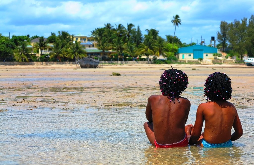 Locals at low tide, Mozambique