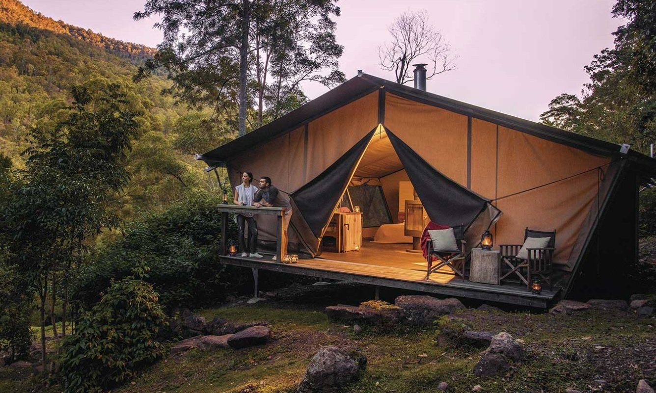 Glamping in Lamington National Park. Photo Credit: Nightfall