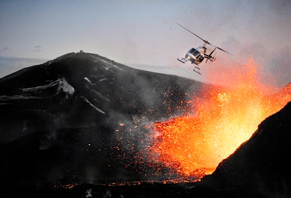heli bungee into volcano chile