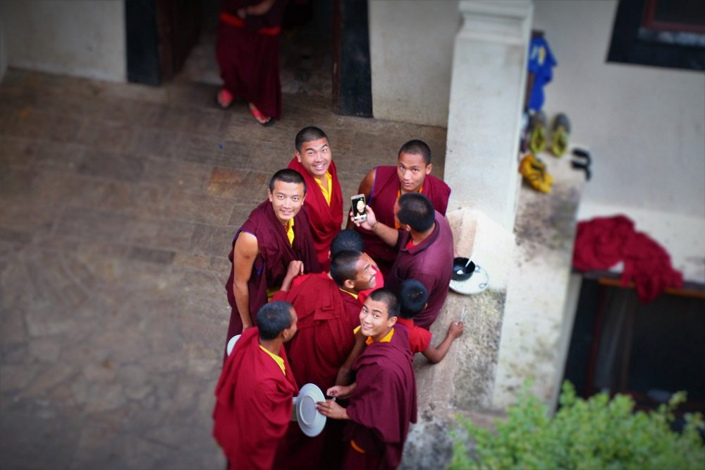 Sprung! Monks on facetime at Neydo Tashi Choeling Monastery.