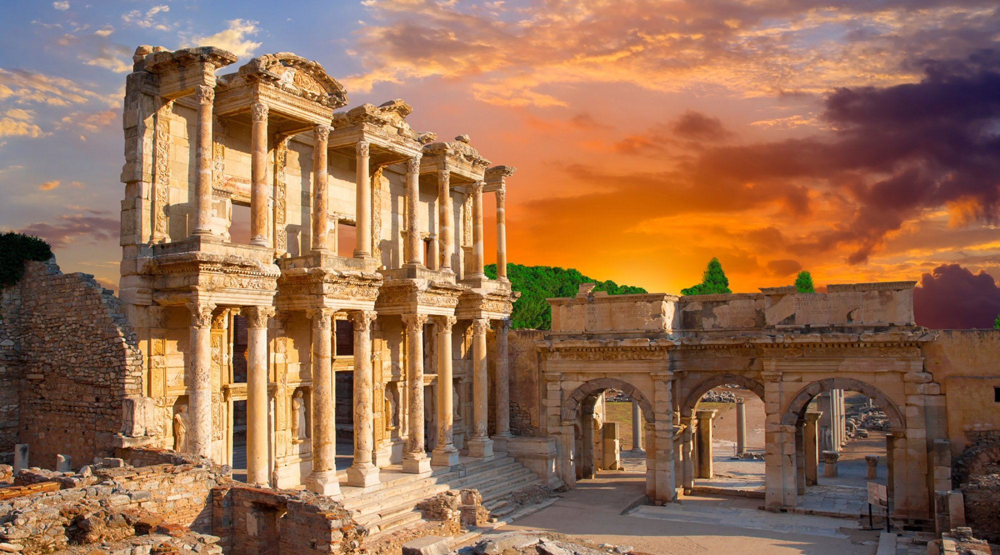 The remaining ruins of the Library of Celsus