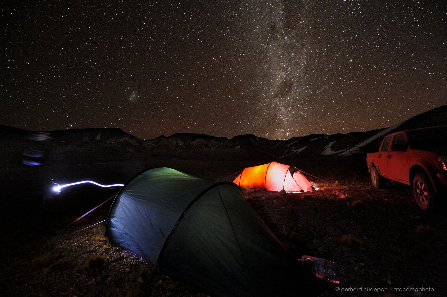 Camping in the cold Altiplano under starry skies