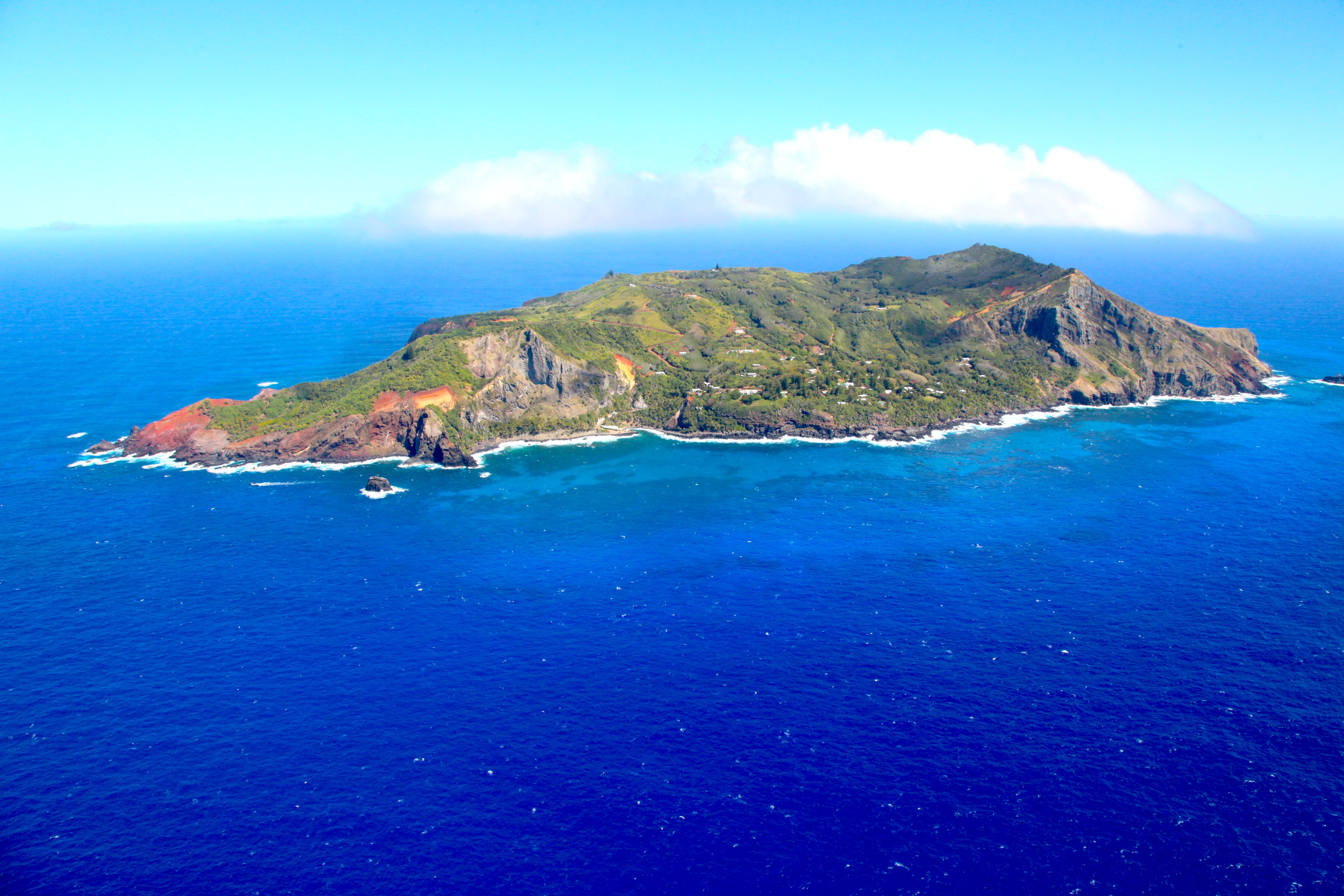 Aerial shot of Pitcairn Island © RSPB