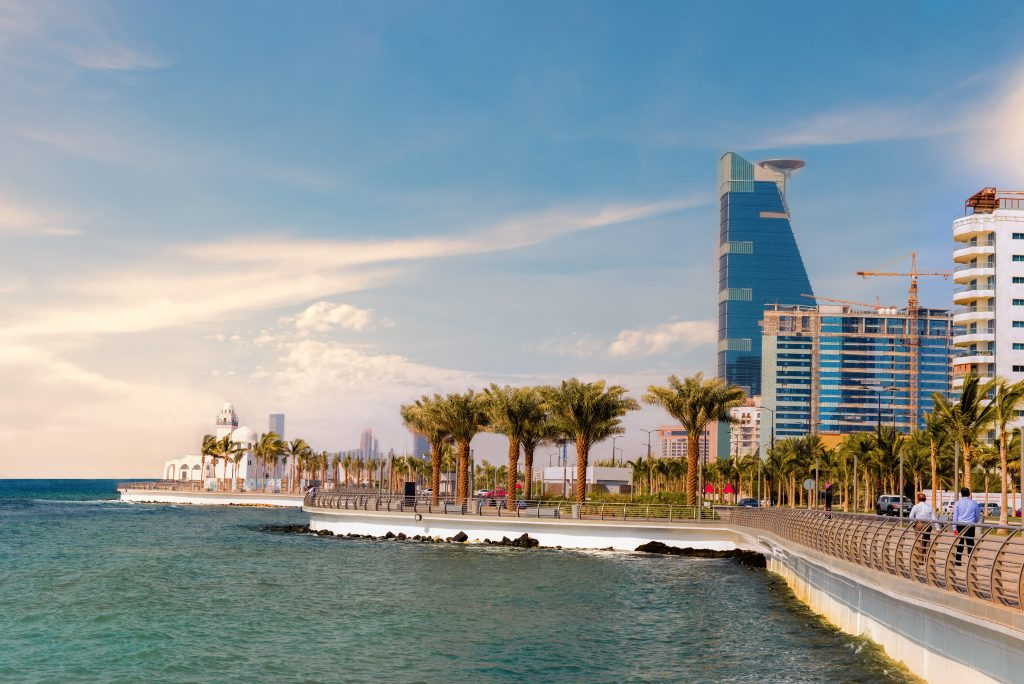 The city of Jeddah on the Red Sea coast of Saudi Arabia