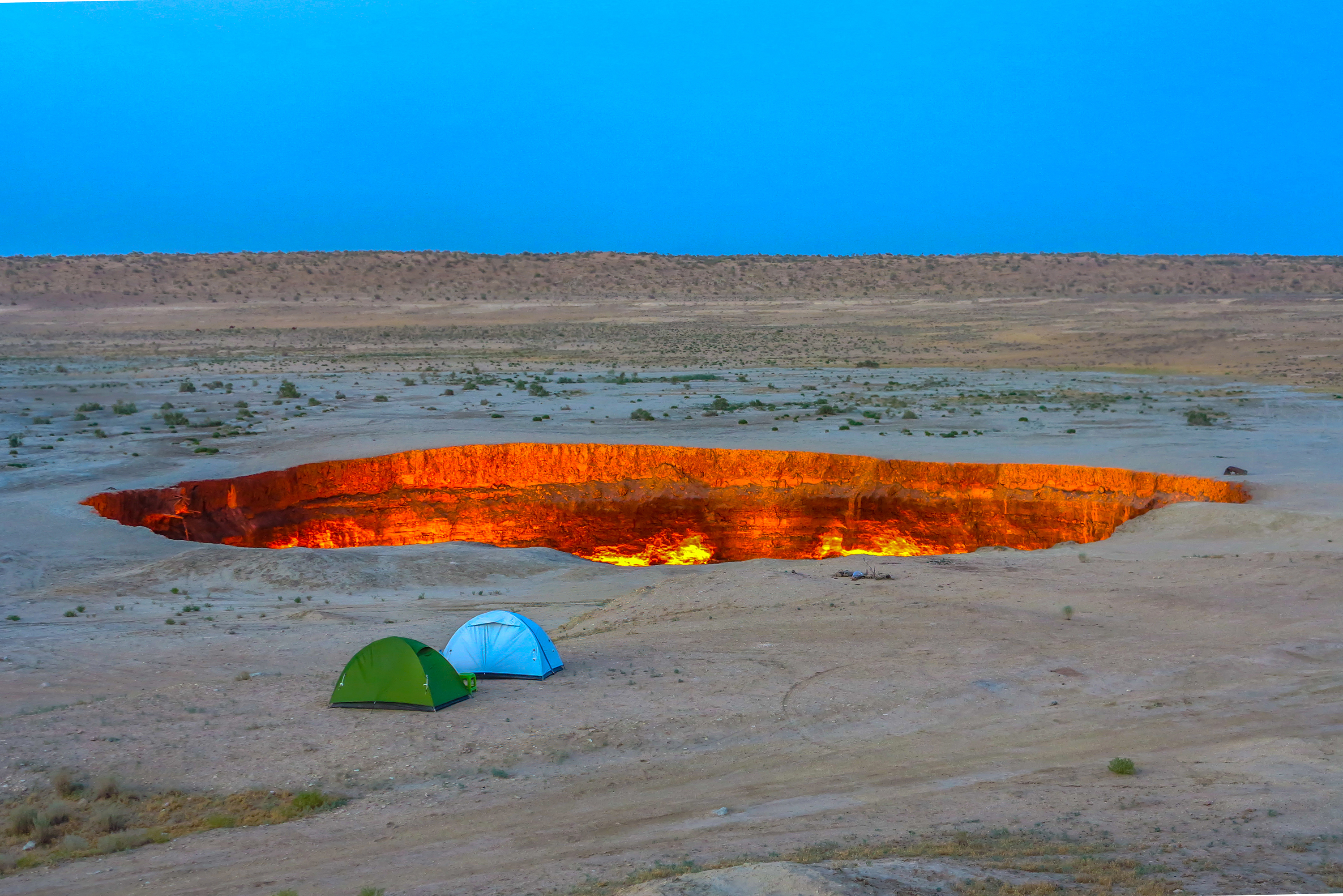 Camping at the Dawarza Crater or Doorway to Hell