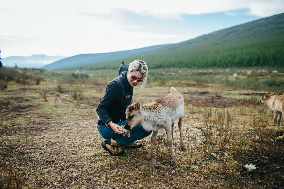 Lisa with the Reindeer Tribe in the far north of Mongolia