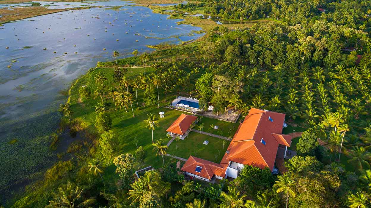 Aerial view of Notary's House and Makandura Lake. Photo credit: Notary's House