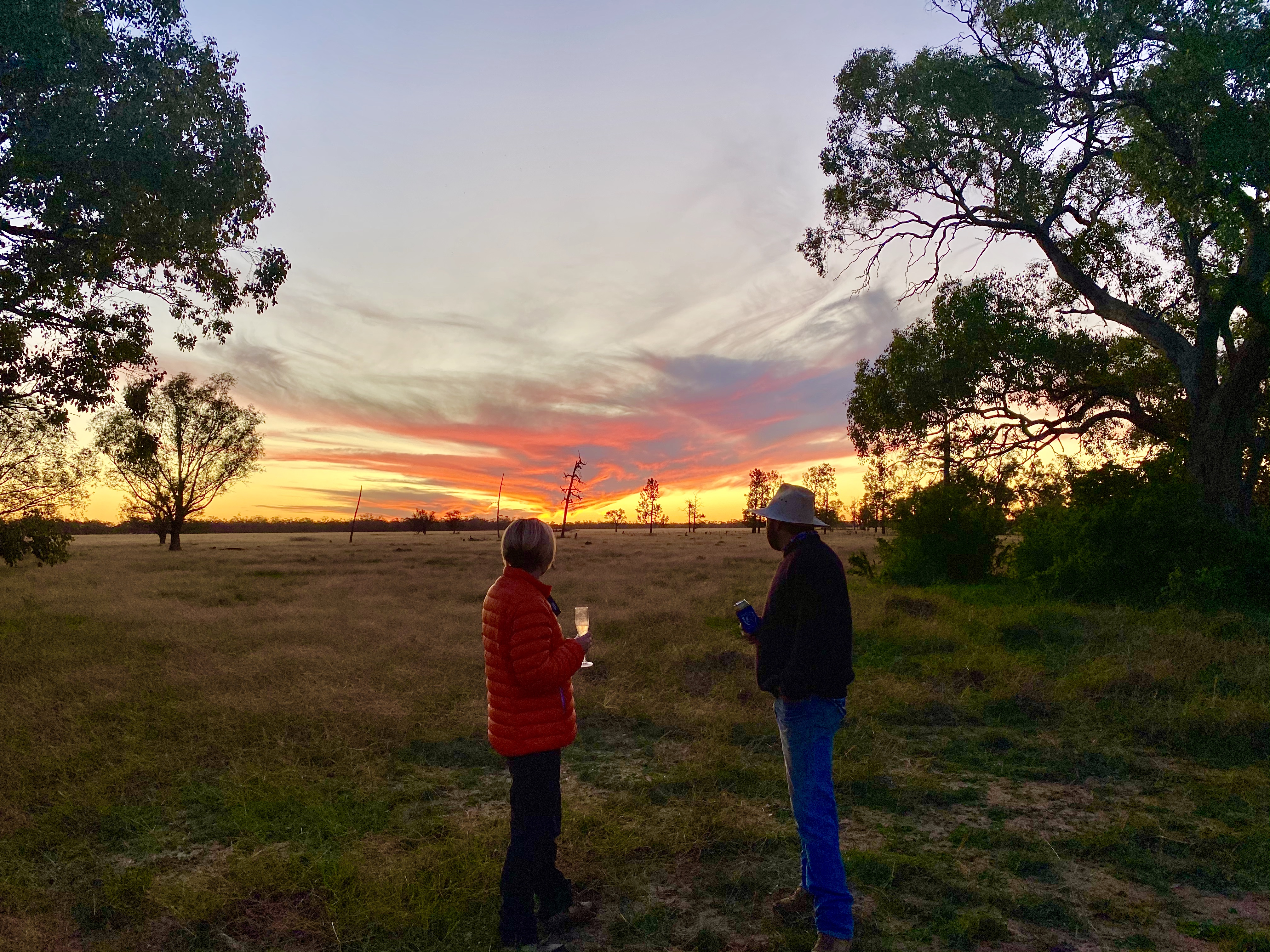 Sundowners in the remote outback of New South Wales. Photo Credit: Crooked Compass