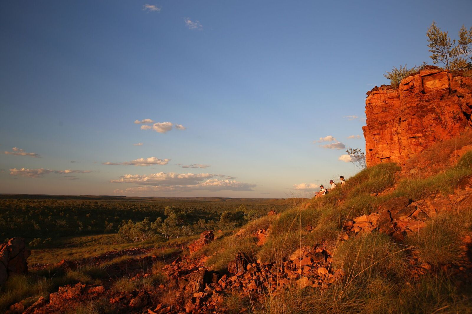 Golden colours of Queensland's outback as the sun begins to set